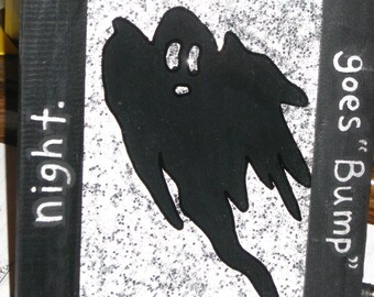 Hand Painted Halloween GHOST on Glass - REVERSE PAINTED on Glass - 5.5 x 7.5, Halloween Decor, Halloween Decoration
