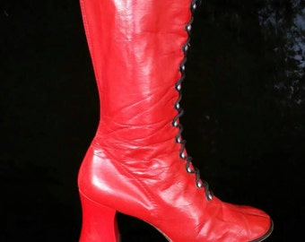 Late 60's/early 70's red faux leather lace up gogo majorette boots EU 38 US 7 UK 5