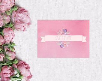 Pink Save The Date Cards for Shabby Chic Weddings / Watercolor Paper w/ Flowers / PRINTED Save-The-Date Cards / Pastel Pink Weddings