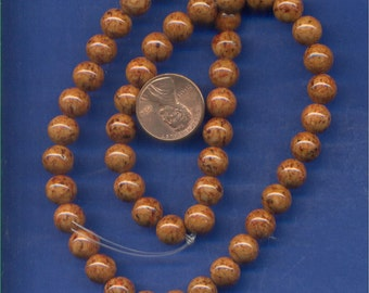 """16"""" Strand 8mm Fossil Beads:  Brown"""