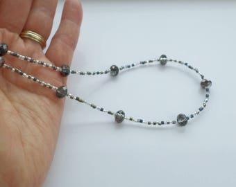 black necklace, black choker, crystal necklace, crystal choker, delicate necklace,black and white necklace, classic necklace, short necklace