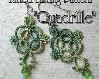 "Tatting Pattern ""Quadrille"" Earrings PDF Instant Download"