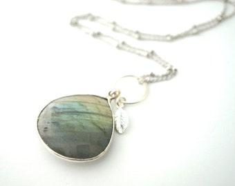Silver Labradorite Pendant Necklace, Long Charm Necklace, Long Silver Necklace, Long Leaf Necklace, Everyday Necklace, Long Stone Necklace