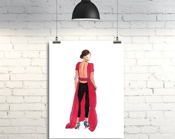 Fashion Illustration Print - Emma Watson
