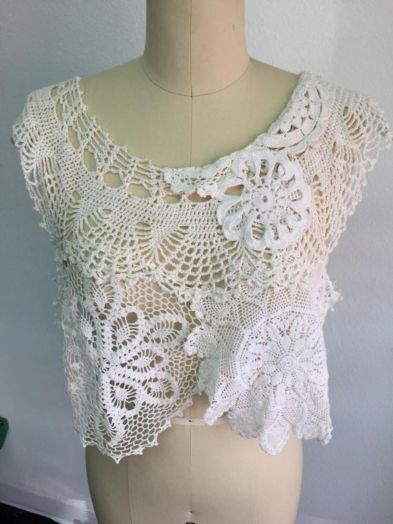 Vintage Boho Lace Topper - crop top- Bridal, wedding