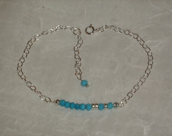 """Sterling silver bracelet _Turquoise_ """"AMOUR"""" (morse) _ made main_creation."""