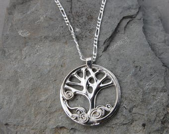 """Tree of Life Spring Sterling Silver 20"""" Figaro Chain Hand Made"""