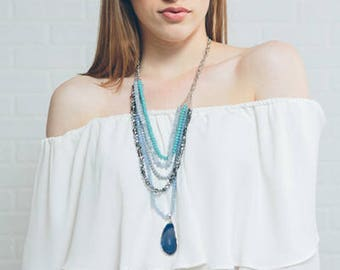 Stella Beaded Necklace   Blue