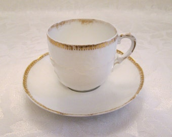 Antique Theodore Haviland Gold on White Embossed Demitasse Cup and Saucer Abram French Company Limoges France Import