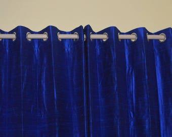 Blue colored Silk Drapes in Rich Raw Silk / Dupioni Silk