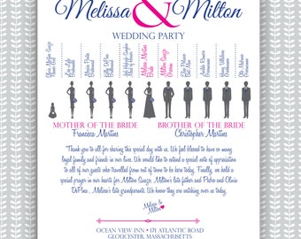 Wedding Ceremony Program - Silhouette Bridal Party