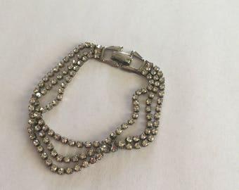 Rhinestone Bridal Bracelet, Silver-tone, Multi strand, Vintage Jewelry