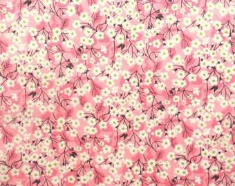 "Mitsi Valeria B Liberty Tana Lawn Fabric scrap green pink white blossom 10"" x 15"" (25,4 cm x 38 cm) The Weavers Mill"
