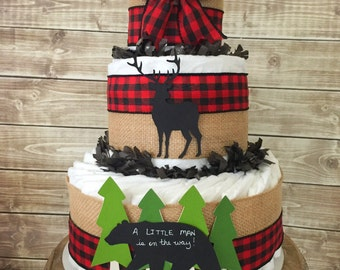 Lumberjack Baby Shower Centerpiece, A Little Man is on his way diaper cake in buffalo check