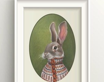 "Rabbit Art, Bunny Painting, Hare Print, Forest Animal Art Print, ""Homer"""