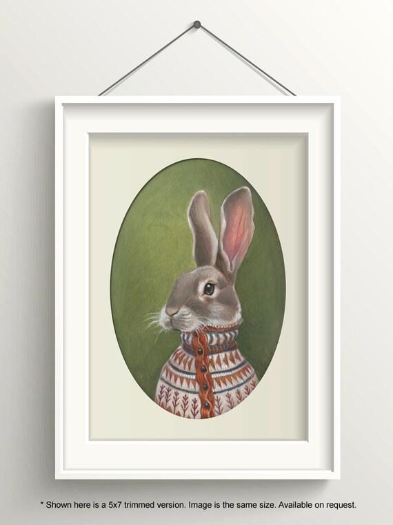 "Rabbit Art, Bunny Painting, Hare Print, Forest Animal Art Print, ""Homer"""