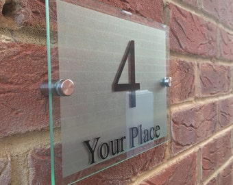Modern House Sign plaque door number street glass acrylic etched back