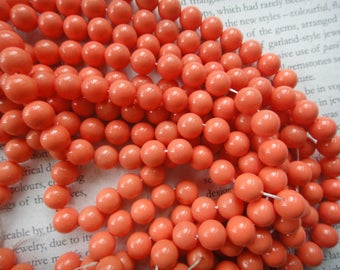 8mm coral color coating tridacna shell beads, 15.5 inch strand