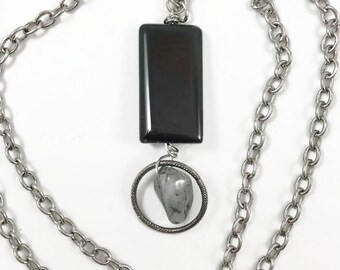 Long Pendant, Statement Necklace, Black Pendant, Gunmetal Chain Pendant, StrandzJewelry