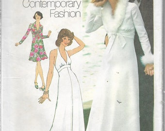 1974 Simplicity Sewing Pattern - PETITE Long DRESS & JACKET - 2 Lengths, Halter Dress, Unlined Jacket - Wedding - Feather Trim - Size 12
