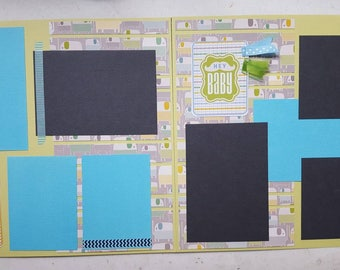 Baby boy pre-made 12x12 Scrapbook pages