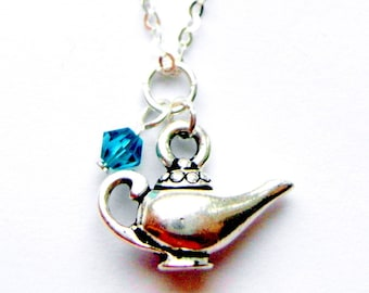 Aladdin lamp necklace - princess jewelry -  ballet gift - fairy tale jewellery - magic lamp necklace - sterling silver Swarovski crystals
