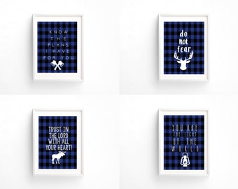 Buffalo Check Woodland/Forest/Camping Boy Nursery Set Of Four Prints