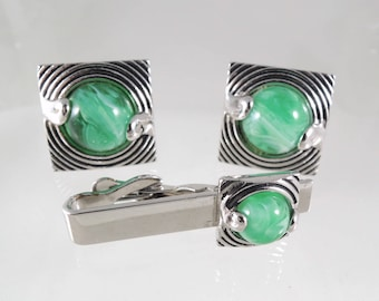"Vintage 1960s-70s Cuff Links Set by Swank ""Galaxy"" Look in Green and Silver Tone - Cufflinks with Tie Clip / Tie Bar Set"