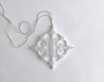 White Paper Snowflake, 4.5 inch Paper Quilled Snowflake, Christmas Snowflake, Christmas Ornament, Quilled Christmas Decoration, Paper Quilli