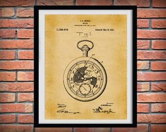 Patent 1916 Pocket Watch - Railroad Watch Patent Art Print - Time Piece Patent - Poster - Wall Art - Watch Maker Wall Art