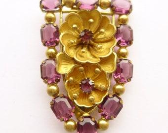 """Gorgeous CZECH Art Deco Huge Purple Rhinestone Dress Clip / Brooch 2 1/2"""""""