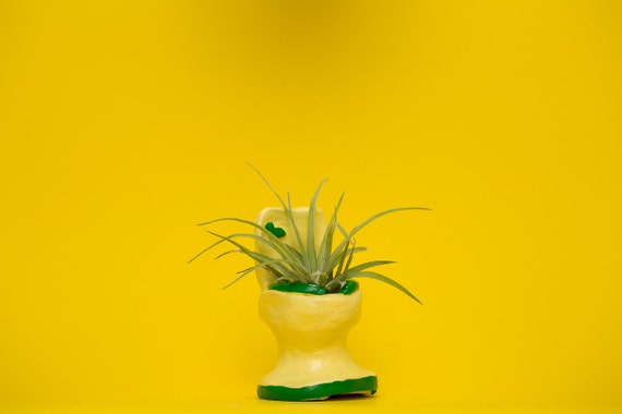 TOILET PLANTER / yellow - green