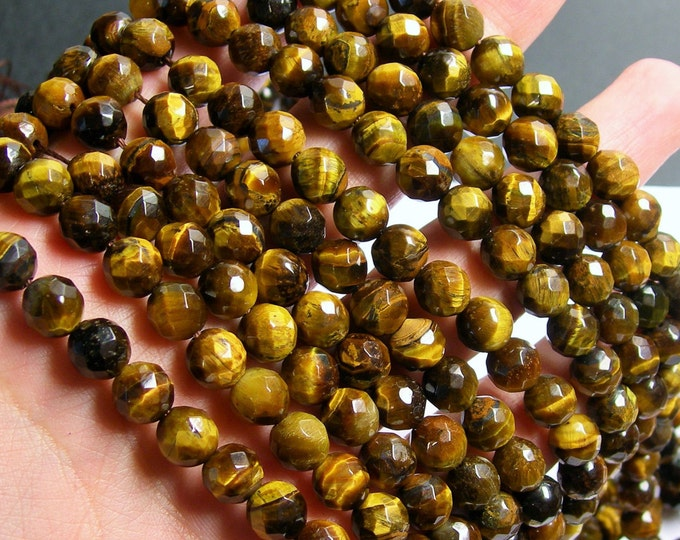 Tiger eyes - 8 mm faceted  round beads -  full strand - 48 beads - RFG811