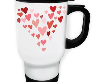 Heart made out of hearts Thermo Travel Mug 14oz w123t
