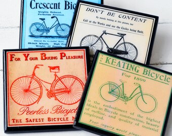 Bicycle Coaster Set, Vintage Bike Art Drink Coasters, Cycling Gift, Wood Coaster Set of Four, Man Cave Decor, Hostess Gift, Sports Decor