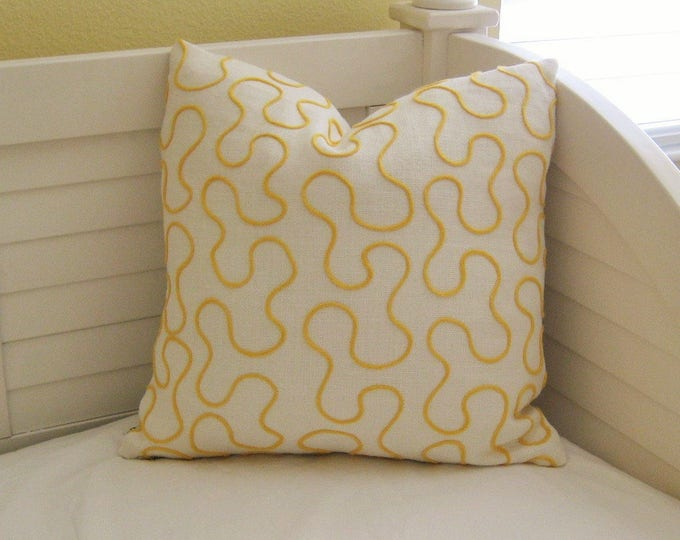 Schumacher Vermicelli in Yellow on Ivory Linen Designer Pillow Cover - Square, Euro and Lumbar Pillow Cover Sizes