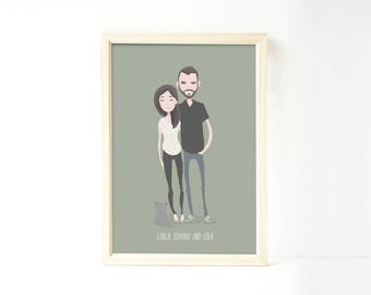 Custom family portrait illustration, personalized drawing, family illustration with pets, wedding gift, wedding portrait, Christmas gift