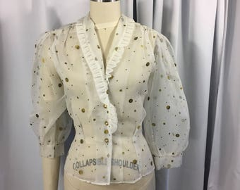 1950's Sheer Nylon Bishop Sleeve Gold Painted Blouse SIze M