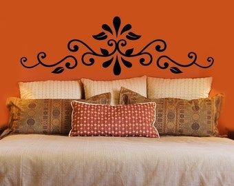 Swirling Headboard Decal - Wall Decals - Your Choice of Color and Size