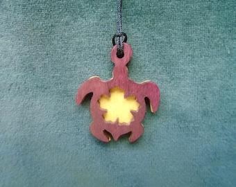Turtle Necklace,  Spirit Animal jewelry, Amulet, Hawaiian Pendant, Beach Jewelry, Sea Turtle Handcrafted Exotic Wood Pendant