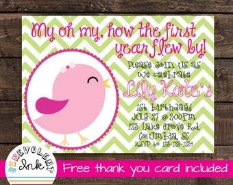 Bird First Birthday Invitation - Printable First Birthday Party Invitation - Chevron 1st Birthday Invite