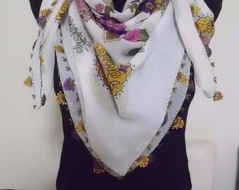 Cotton Turkish Scarf with Needle Lace Handmade/ oya / yazma 2
