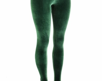 Forest Green Stretch Velvet High Waist Leggings  153924