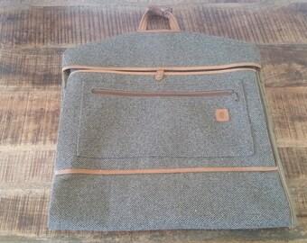 Vintage Brown Tweed & Belting Leather Trim HARTMANN Bi-Fold Garment Bag Travel Luggage Carry-On