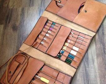 Leather needle case, Handmade Knitting Needle Organizer, Needles roll case, Knit needles case, Circular case Knitting, needles organizer