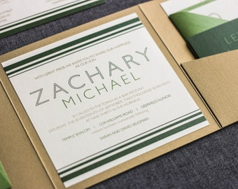 "Green Bar Mitzvah Invitation, Golf Party Invitations, Modern Irish Wedding, Pantone Green Invitations - ""Striped Mitzvah"" PF-NL SAMPLE"