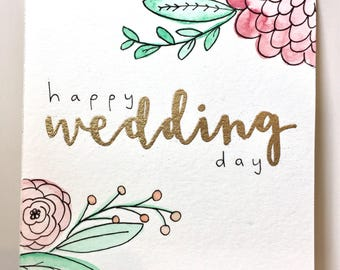 "Original watercolour ""Happy Wedding Day"" 4x4"" card with envelope"