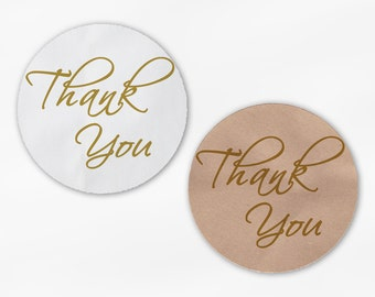 Thank You Script Wedding Favor Stickers in Gold - Custom White Or Kraft Round Labels for Bag Seals, Envelopes, Mason Jars (2025)
