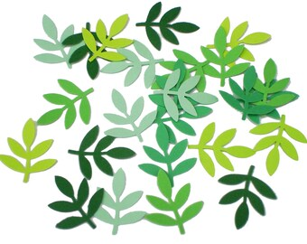 50 Mixed Green Frond Fern Leaf confetti punch die cut scrapbook embellishments - paper crafts and party supplies - No989