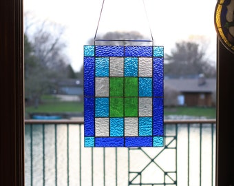 Stained Glass Panel Window -  stained glass art, stained glass window, stained glass window panel, stained glass pattern, blue glass panel